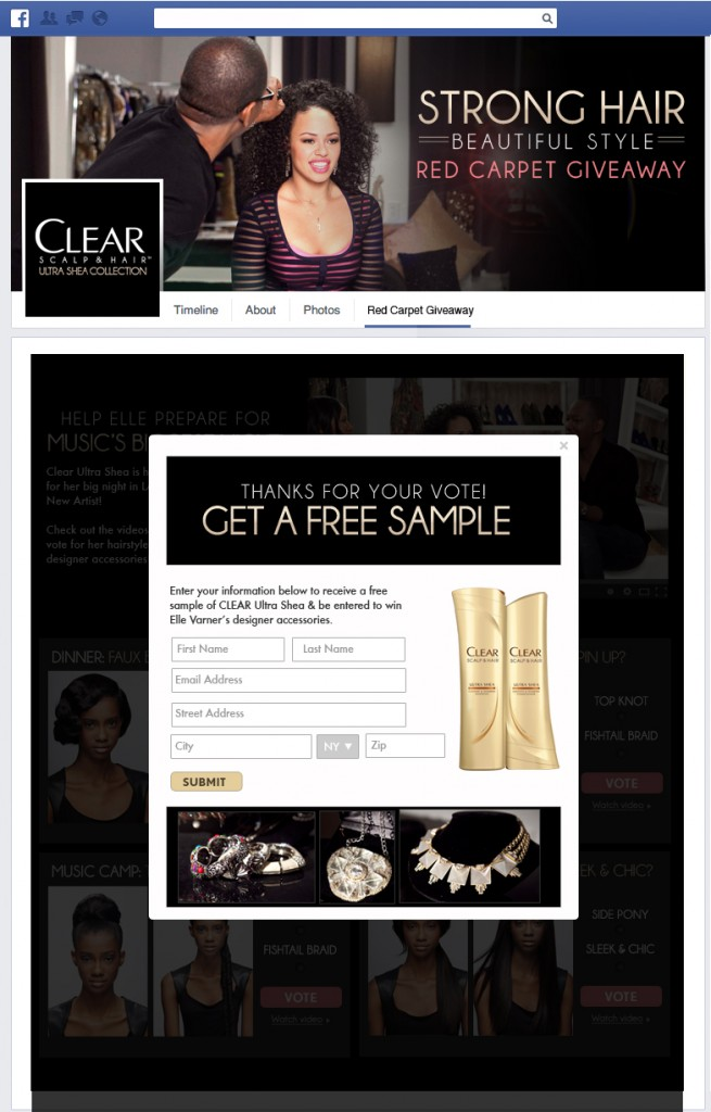 Clear Ultra Shea Grammy Giveaway Sampling